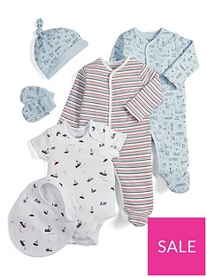 a4e14b7ab Mamas & Papas Baby Boys 6 Piece Set with Train and Boat Prints and Stripes