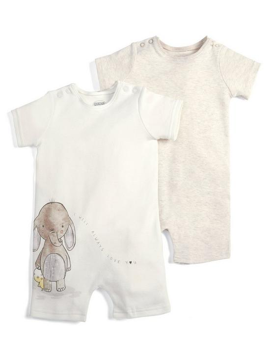 04dc753d7 Mamas   Papas Baby Unisex 2 Pack Animal Rompers - Sand