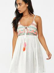 42cf3734ef Accessorize Embroidered Top Swing Dress - White