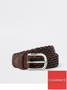 river-island-brown-leather-silver-tone-woven-buckle-belt