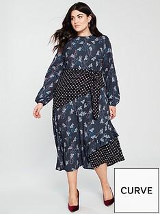 lost-ink-plus-mixed-print-midi-dress-multi
