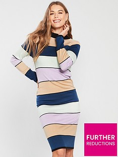 1c1875b8bb84 Lost Ink Lost Ink Stripe Column Cold Bodycon Knitted Dress