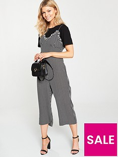 97a47a795ed Lost Ink Petite Lost Ink Petite 2 In 1 Lace Trim Jumpsuit With Tee