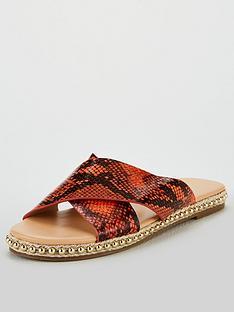michelle-keegan-harp-stud-sole-cross-strap-slider-snake-print