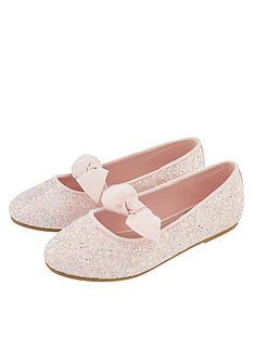 d49743191770 Monsoon Girls Gemma Glitter Bow Ballerina Shoe