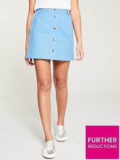 f62d0e82841a V by Very Linen Button Through Skirt - Soft Blue