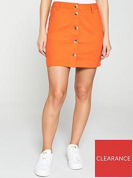 v-by-very-linen-button-through-skirt-orange
