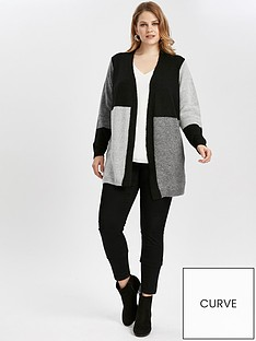 evans-colourblock-cardigan-blackgrey