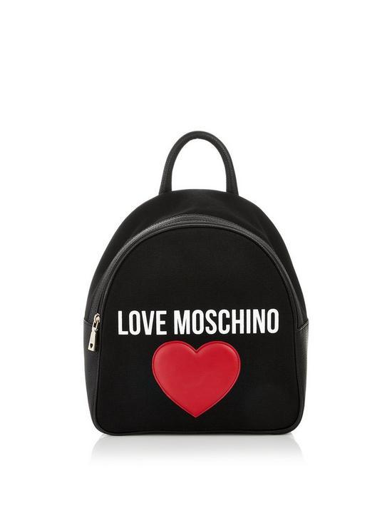 f8b0731e9d LOVE MOSCHINO Classic Logo Heart Backpack - Black | very.co.uk