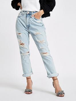 Ri Petite Mom Jeans - Mid Blue