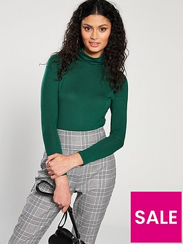 v-by-very-jersey-roll-neck-top-green