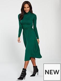 v-by-very-roll-neck-dress-bottle-green