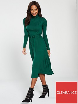 v-by-very-roll-neck-dress-bottle-green