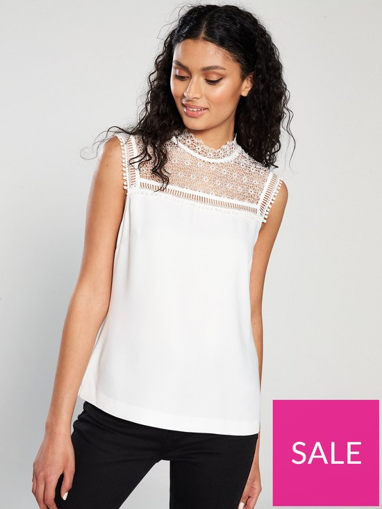 25831eaca9cc Ted Baker Clairy Lace Detail Ruffle Top - Ivory | very.co.uk