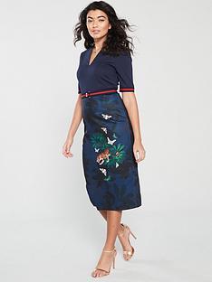ted-baker-yalila-houdiininbspprint-bodycon-dress-navy