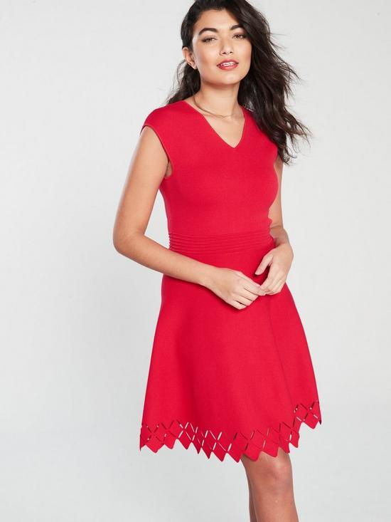 160805864 Ted Baker Tannia Stitch Detail V-Neck Skater Dress - Red
