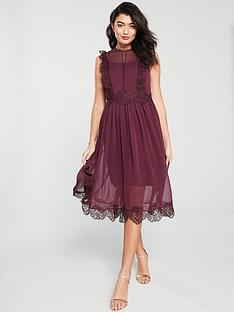 aae77c544addc3 Ted Baker Porrla Frill Lace Midi Dress - Burgundy