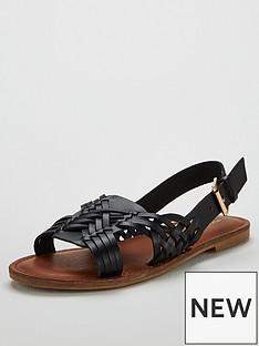 93bd7ecd99bd45 Michelle Keegan Heather Huarache Slingback Flat Sandals - Black
