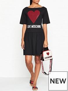 love-moschino-embellished-logo-skater-dress-black
