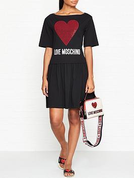 love-moschino-embellished-logo-skater-dress-black