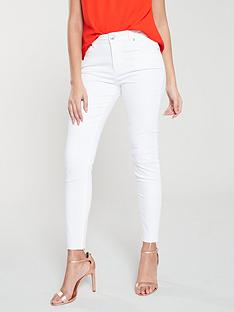63db91615 Ted Baker Catarsi Uneven Raw Hem Skinny Jeans - White