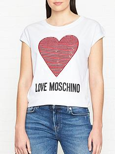 fe6ff500c70 LOVE MOSCHINO Embellished Heart Logo Short Sleeve T-shirt - White
