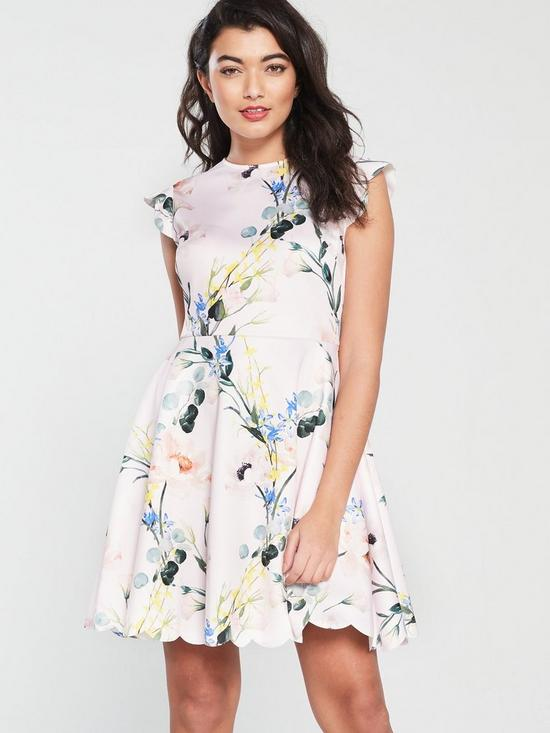0dc5ef538 Ted Baker Karsali Elegance Scallop Skater Dress - Pale Pink