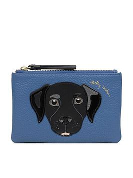 radley-and-friends-labrador-small-zip-top-purse-indigo