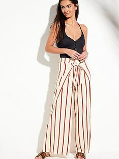5c9e9618a0f V by Very Tie Front Split Leg Beach Trousers - Stripe