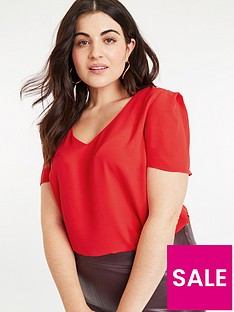 oasis-curve-v-neck-top-mid-red