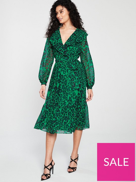 c775d58b5f9 Wallis Green Animal Wrap Midi Dress | very.co.uk