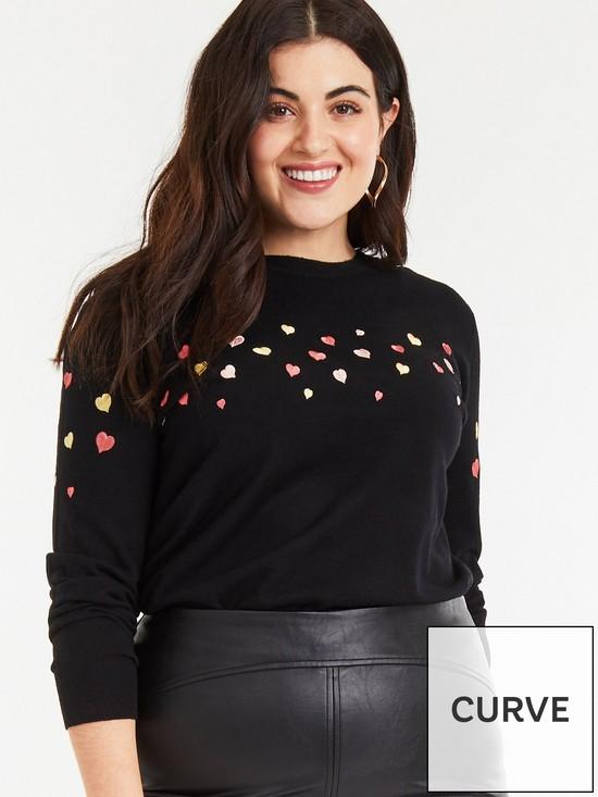 29a1244689e Oasis Curve Kourtney Heart Embroidered Jumper - Multi Black