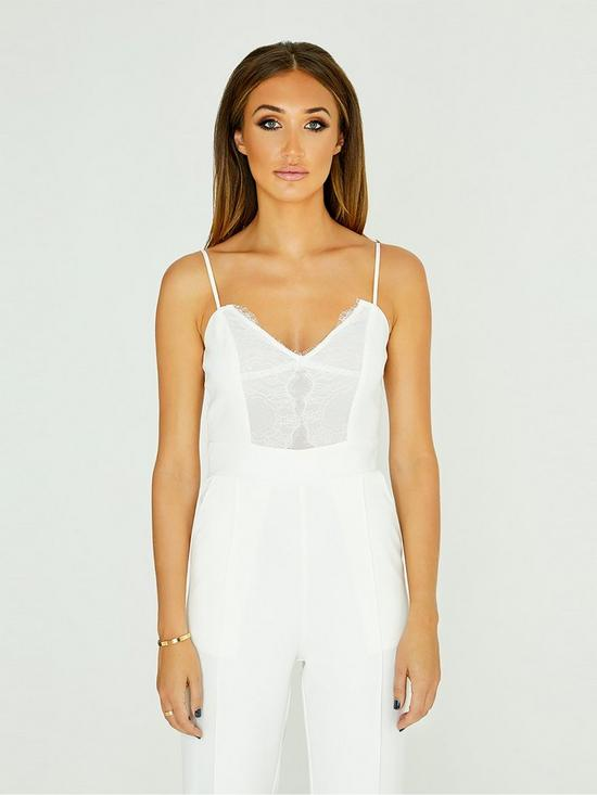 f3f89f96c4 Studio Mouthy by Megan Mckenna Lace Detail Wide Leg Jumpsuit - White ...