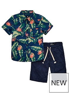 482809c6a Mini V by Very Boys Hawaiian Shirt & Palm Short Set - Multi