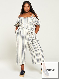 b6eaa14a945 V by Very Curve Cold Shoulder Linen Jumpsuit - Stripe