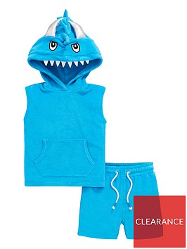 mini-v-by-very-boys-monster-towelling-hooded-top-and-shorts-set-turquoise