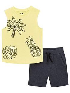 4d609a4ab1 Mini V by Very Boys 2 Piece Palm/Pineapple Vest And Shorts Set - Blue/Yellow
