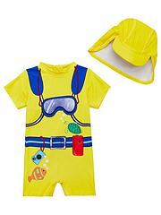 e1c8150b62e8e Mini V by Very Toddler Boys 2 Piece Scuba Diver Sunsafe Swimwear and  Matching Hat Set