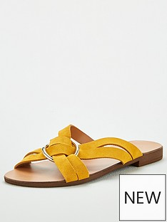 51d3bc4065cc V by Very Harem Leather Ring Detail Crossover Flat Sandal