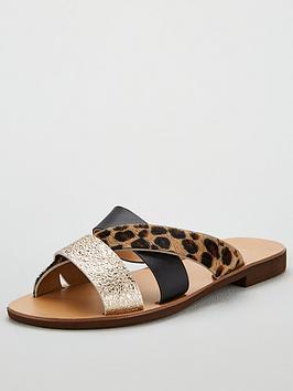 v-by-very-hayden-leather-leopard-mix-cross-strap-slider