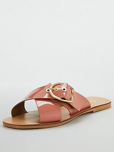 972aacedd V by Very Harriet Leather Buckle Cross Strap Sliders - Light Pink