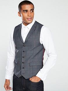 skopes-warleynbspcheck-waistcoat-greyblue