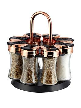 tower-rose-gold-and-black-rotating-spice-rack-and-8-jars-with-spices