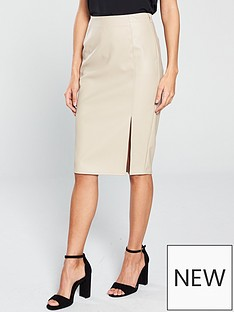 v-by-very-pu-pencil-skirt-nude