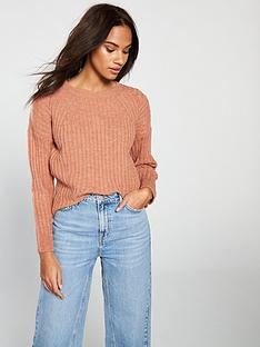 v-by-very-crew-neck-pointelle-detail-rib-jumper-camel