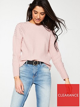 v-by-very-crew-neck-pointelle-detail-rib-jumper-pink