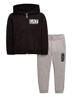 ea7-emporio-armani-boys-zip-through-hoodie-amp-jogger-tracksuit-blackgrey
