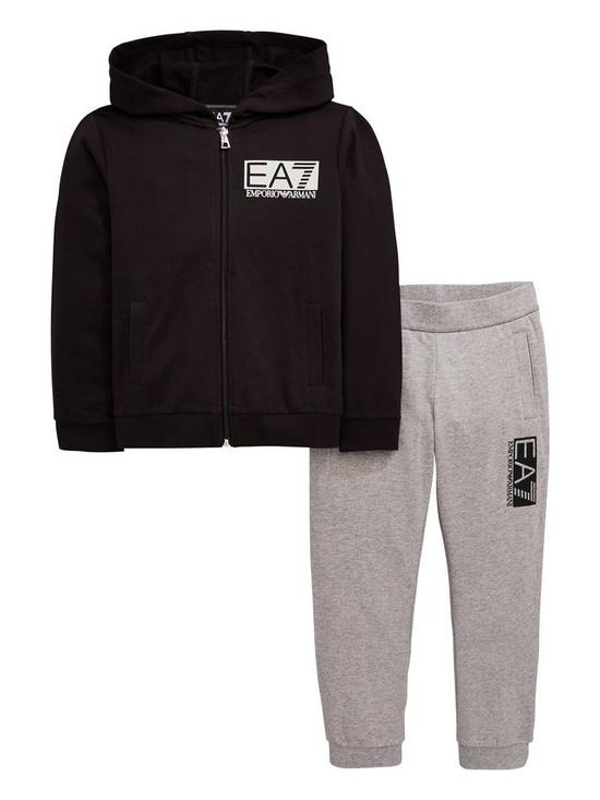 c9fe90f2b EA7 Emporio Armani Boys Zip Through Hoodie & Jogger Tracksuit - Black/Grey