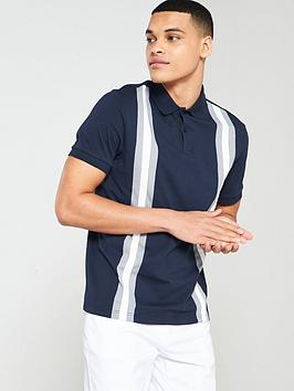 v-by-very-short-sleeved-vertical-panel-polo-shirt-navy