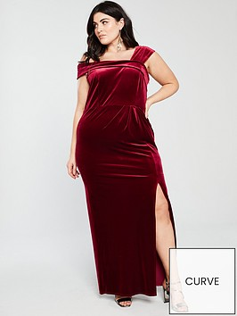 monsoon-curve-delphine-velvet-maxi-dress-red
